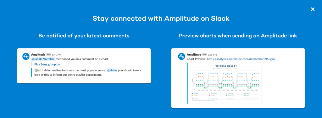 Screenshot showing Amplitude's Slack integration option