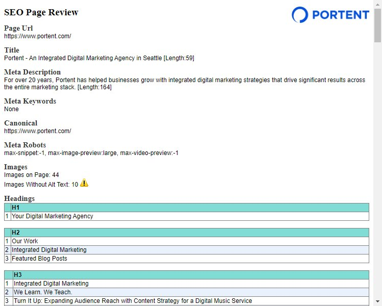 Portent's SEO Page Review Chrome Extension screen shot