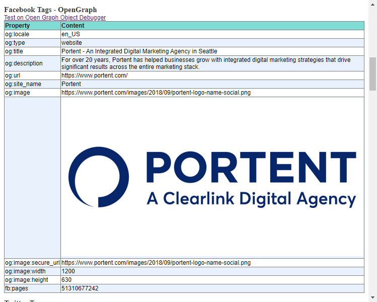 Portents SEO Page Review Chrome Extension screenshot