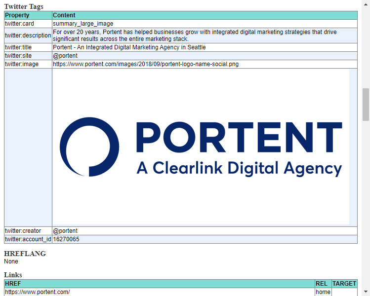 Portent's SEO Page Review Chrome Extension screenshot