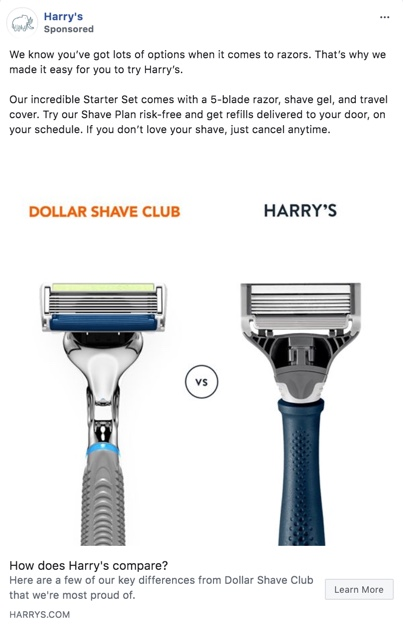 Screenshot of a Harry's ad on Facebook, featuring a side-by-side comparison of razors from Harry's and Dollar Shave Club