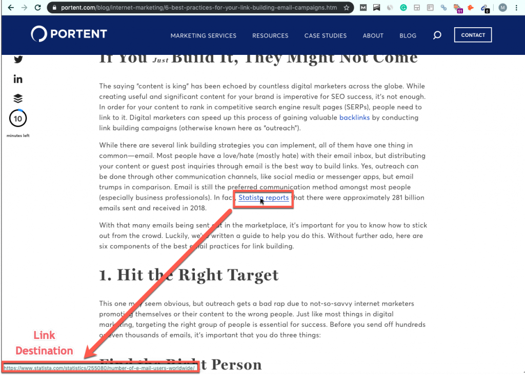 Screenshot of a Portent.com blog post, with the mouse hanging over a link and the link destination showing up in the bottom left-hand corner of the screen