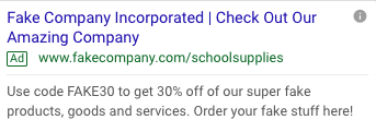 Screenshot of google results demonstrating a generic, non-seasonal fake ad for school supplies