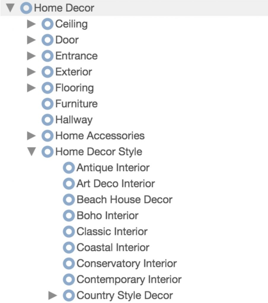 "Screenshot example of the ""Home Decor"" interest vertical from Pinterest"