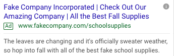 Screenshot of google results demonstrating a customized, seasonal fake ad for school supplies referencing the fallies