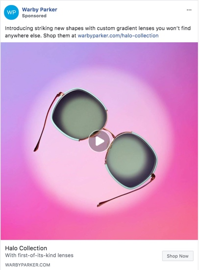 Screenshot of a Warby Parker ad on Facebook, featuring a pair of sunglasses on a bright pink background