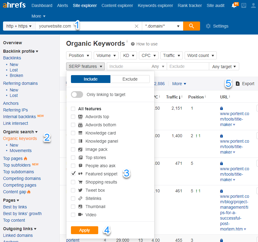 Screenshot showing how to filter for featured snippets in Ahrefs