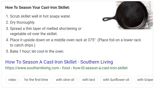 Screenshot of an example of a list snippet search result in Google for instructions to season a cast-iron skillet