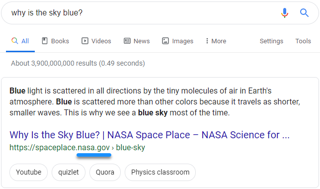 "Screenshot of Google search results for the query ""why is the sky blue?"" showing that NASA has the featured snippet"