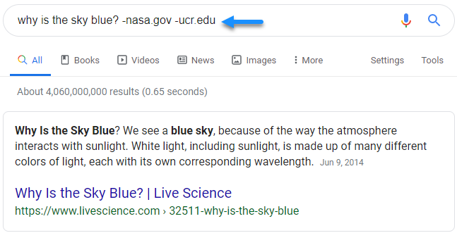 "Screenshot of Google search results for the query ""why is the sky blue?"" excluding nasa.gov and ucr.edu showing that the site Live Science is also being considered for the featured snippet"