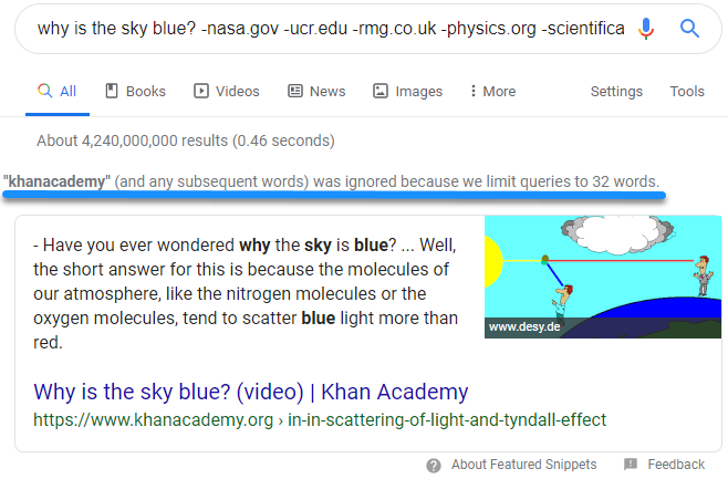 "Screenshot of Google search results for the query ""why is the sky blue?"" with the message ""khanacademy (and any subsequent words) was ignored because we limit queries to 32 words"""
