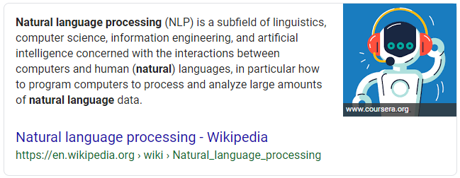 Screenshot of an example of a paragraph snippet search result in Google for Natural Language Processing
