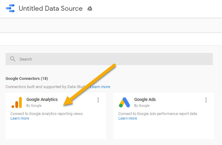 Screenshot of GDS with an arrow pointing to the Google Analytics account option
