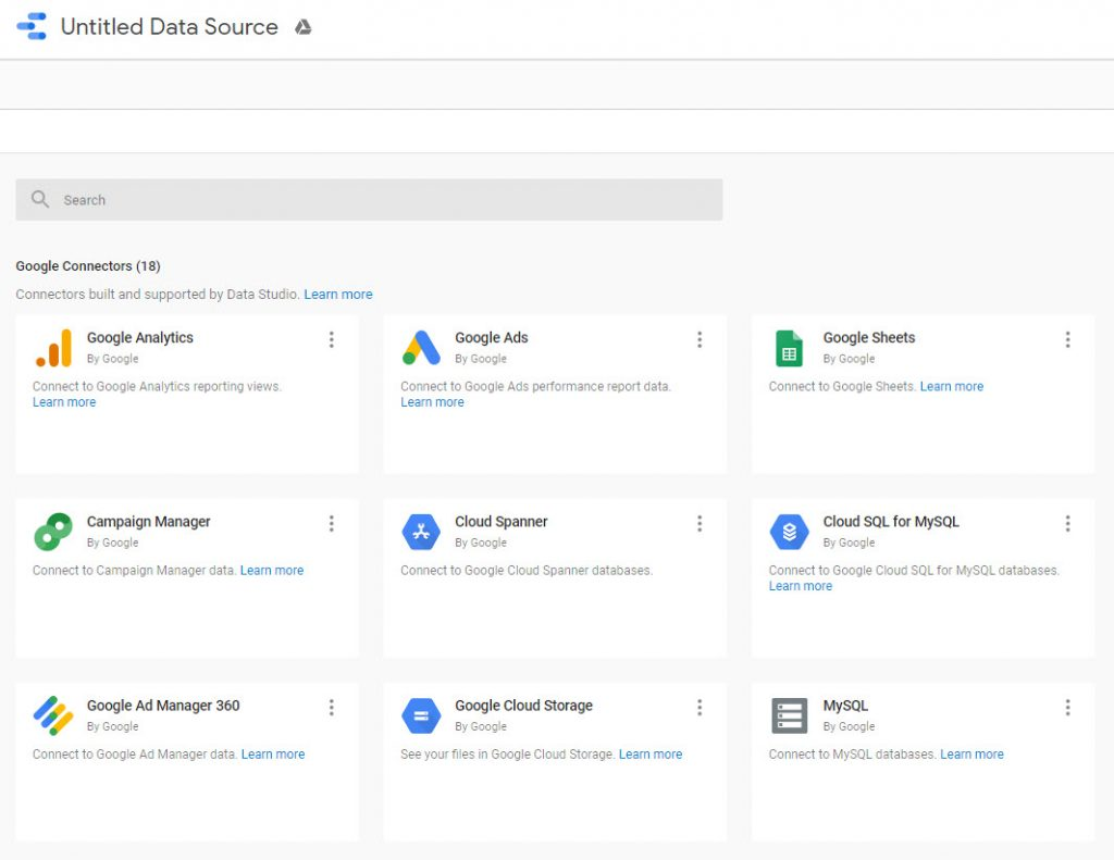 Screenshot of available Google Connectors in GDS