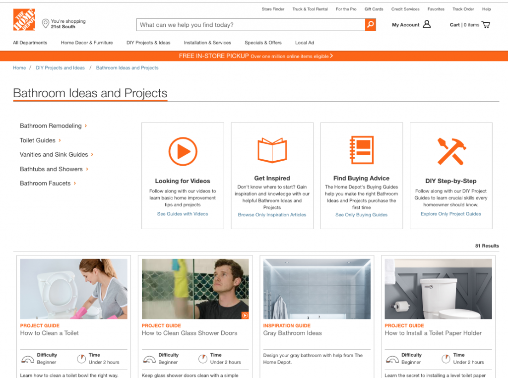 "Screenshot of Home Depot's ""Bathroom Ideas and Projects"" hub that features a variety of links to videos, blog articles, and guides for related projects."