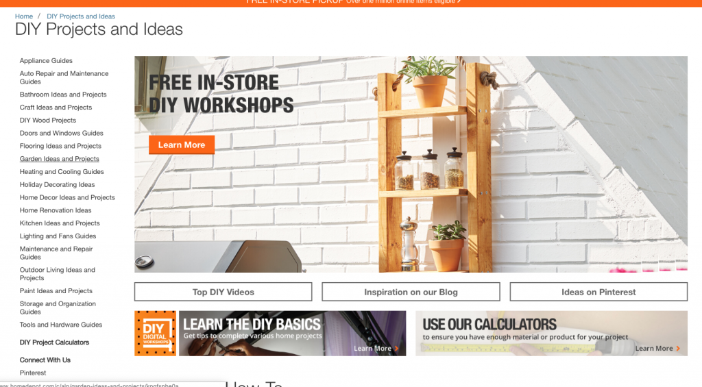 Screenshot of Home Depot's DIY Projects and Ideas landing page