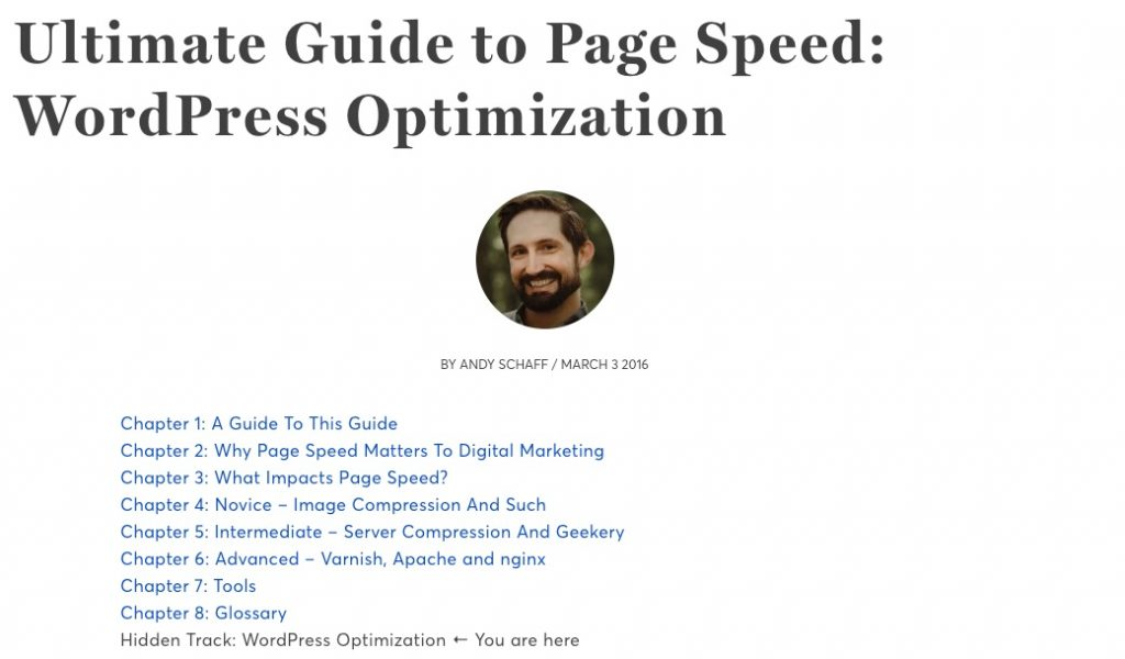 Screenshot of Portent blog post: Ultimate Guide to Page Speed that uses an linked table of contents as a mini-hub for the article