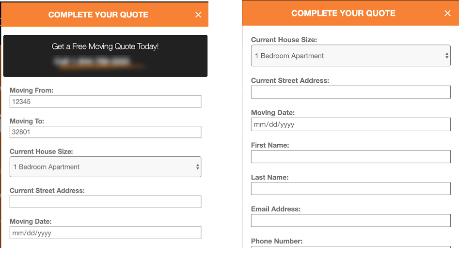 Side by side comparison of the form fill before and after the CRO recommendations were implemented