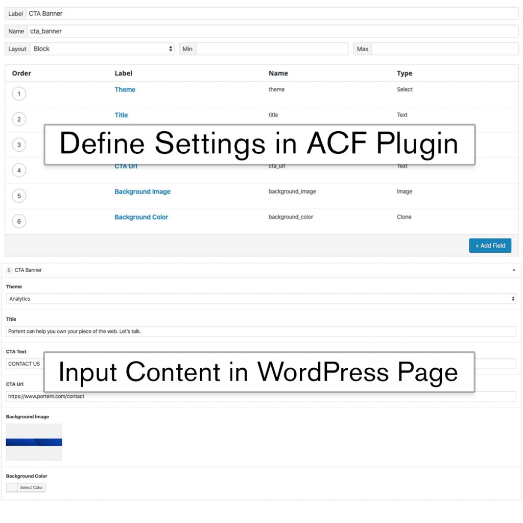Side-by-side comparison showing how the ACF plugin and the WordPress Page input work together