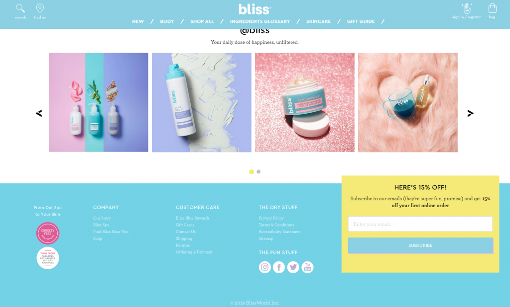 Screenshot of Bliss Cosmetics website with a low contrast footer