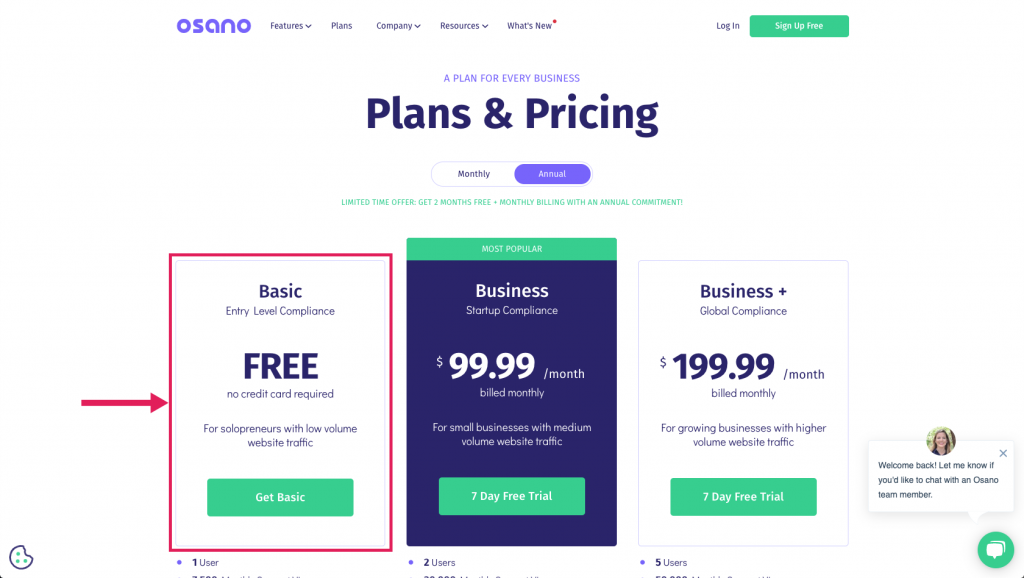 Screenshot of Osano's plans and pricing page