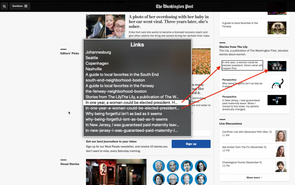 Screenshot of The Washington Post's landing page and arrows pointing to redundant links in both an article title and accompanying image