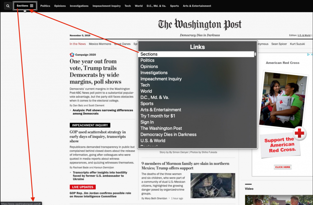 Screenshot of The Washington Post's landing page that uses semantically incorrect links