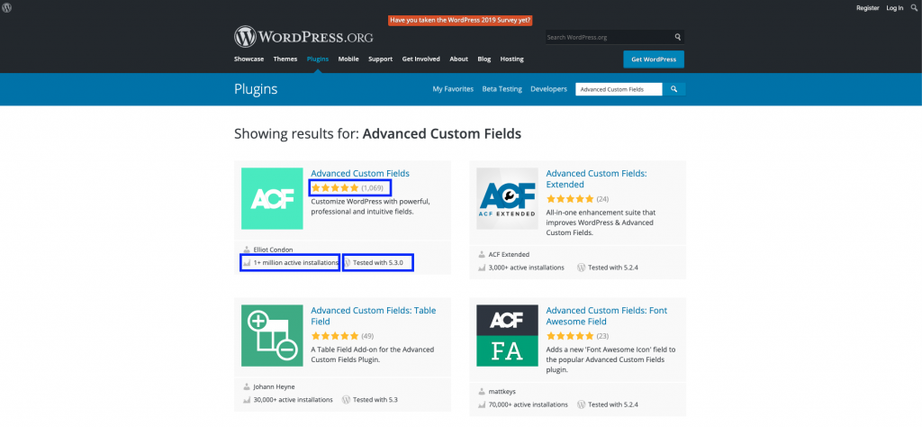 Screenshot of the WordPress Plugin Repository page