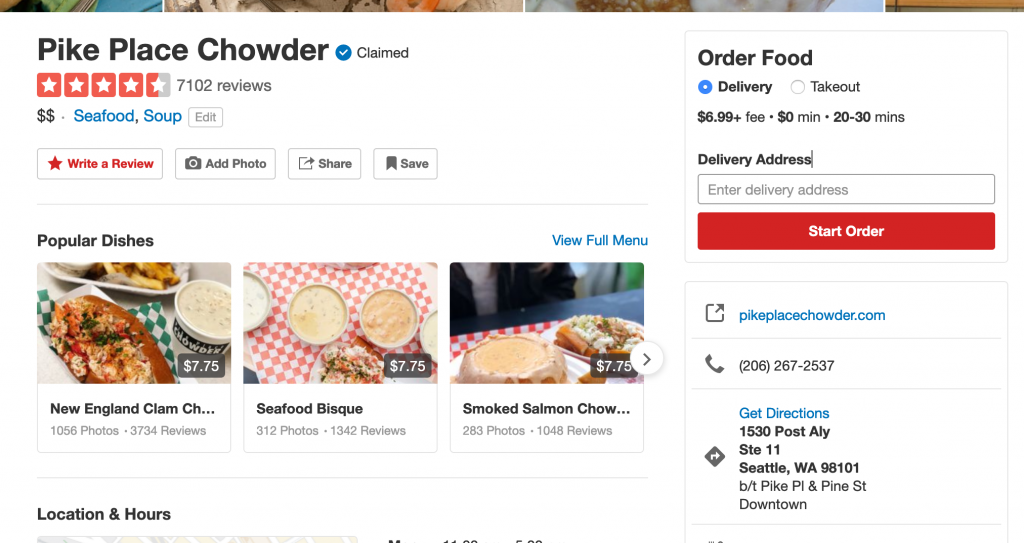 Screenshot showing the star rating on Yelp.com, which is an example of an interface element.