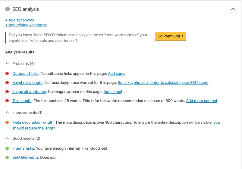 Screenshot of Yoast SEO on-page analysis in WordPress