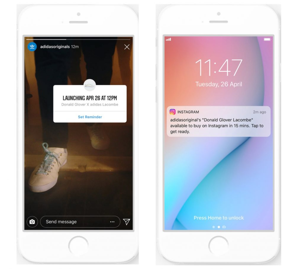 Two screenshots showing how mobile reminders for product launches work