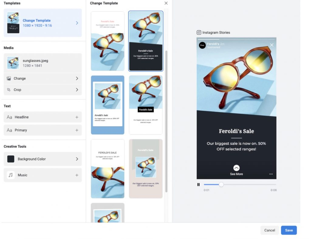 Screenshot showing how to use Instagram story advertising templates