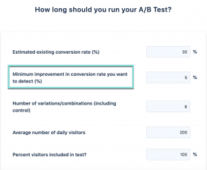 Screenshot of VWO's A/B test duration calculator