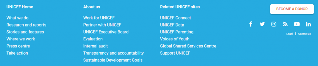 Screenshot of Unicef's website footer showing easy to read white text on a blue background, clear of clutter, and concise.