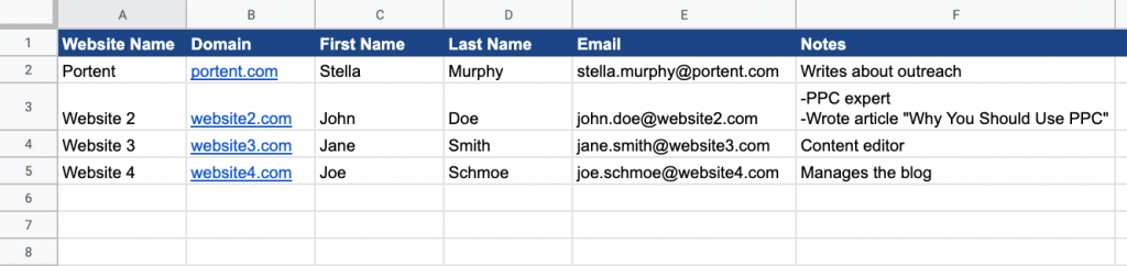 screenshot of an example of a media contact list in a spreadsheet