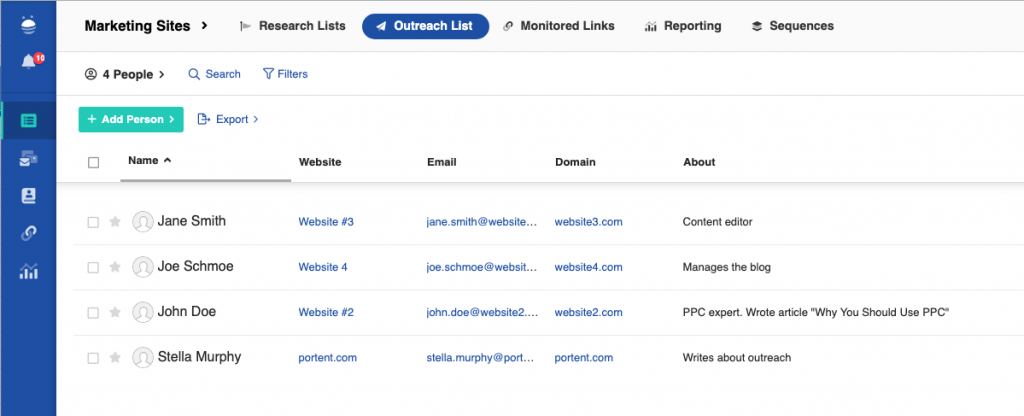 screenshot of an example of a media contact list in Buzzstream