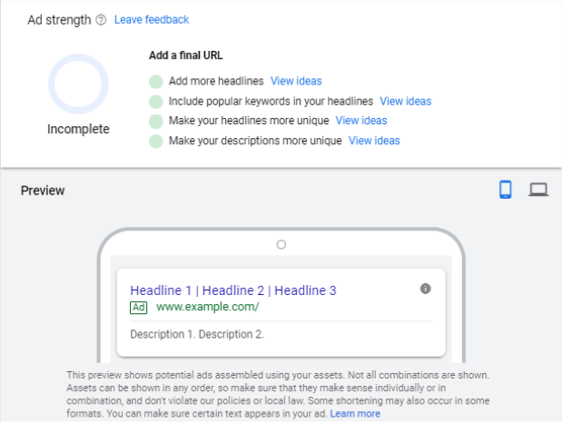 Screenshot of the ad preview field in Google Ads