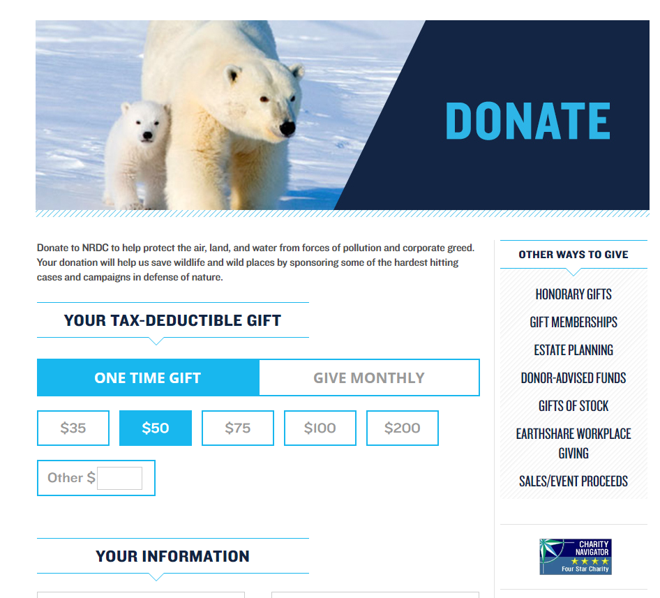 Screenshot of the donation form experience on NRDC's website