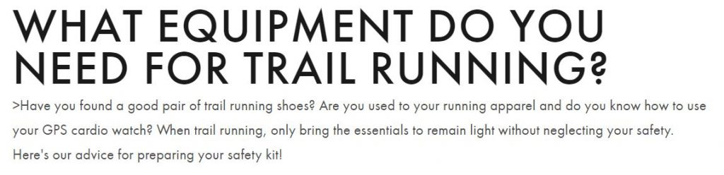 Screenshot of the title of a blog post on trail running by Salomon