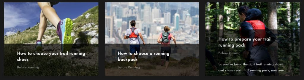 Screenshot of the suggested related content on a blog post on trail running by Salomon
