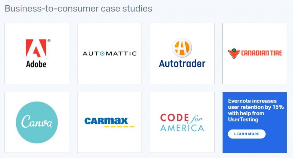 Screenshot of a group of B2B case studies grouped together on usertesting.com