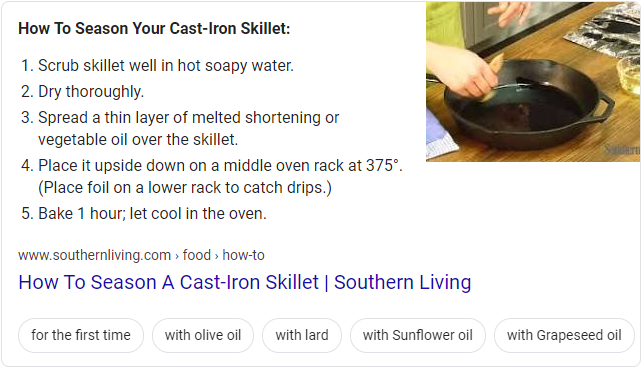 Screenshot of Google's featured snippet for how to season cast iron