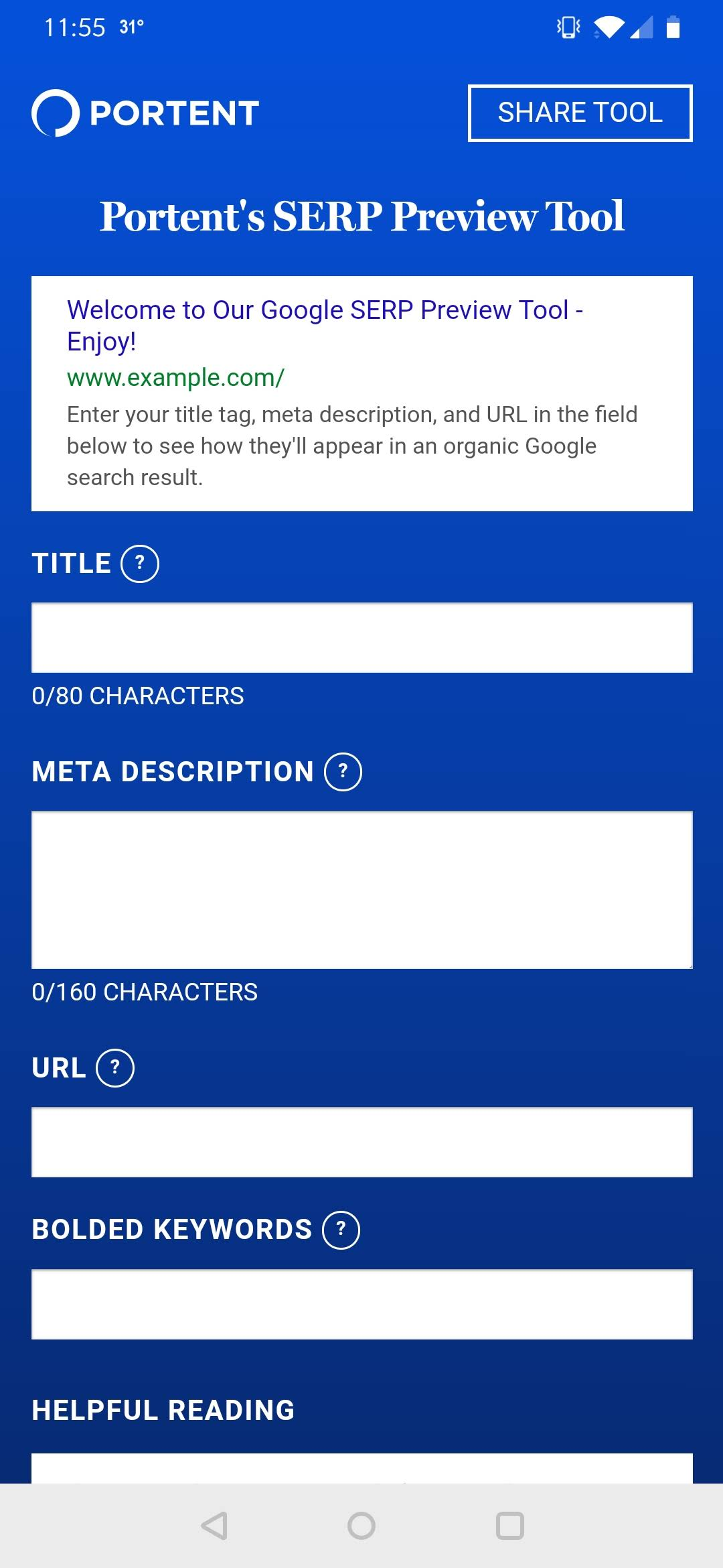 Portent's SERP Tool PWA on Android screenshot