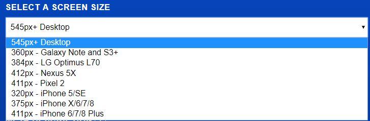 Portent's SERP Tool screen selector
