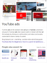 Screenshot of the Google SERP for a query about YouTube ads that embeds featured snippet text within a Knowledge Graph panel with image search results and related topic links