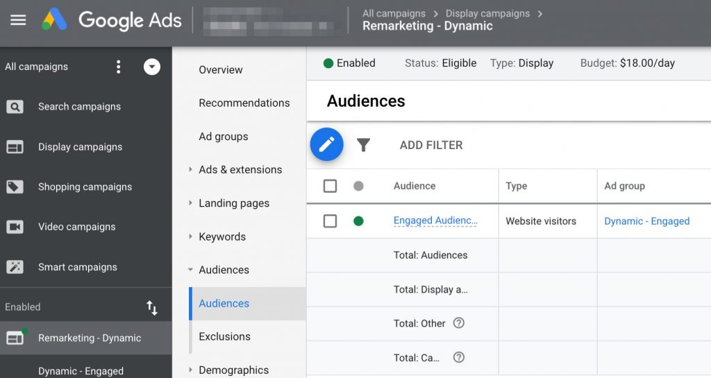 Screenshot of a list of audiences being used in a display campaign in Google Ads
