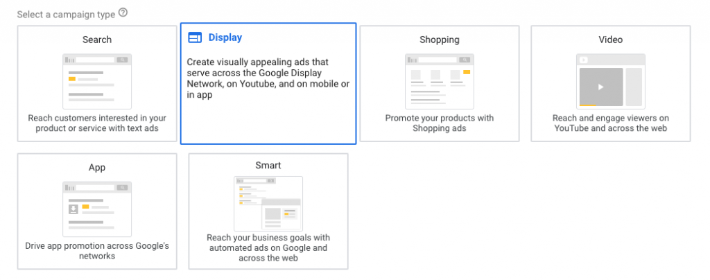 Screenshot showing how to set up a dedicated display campaign in Google Ads