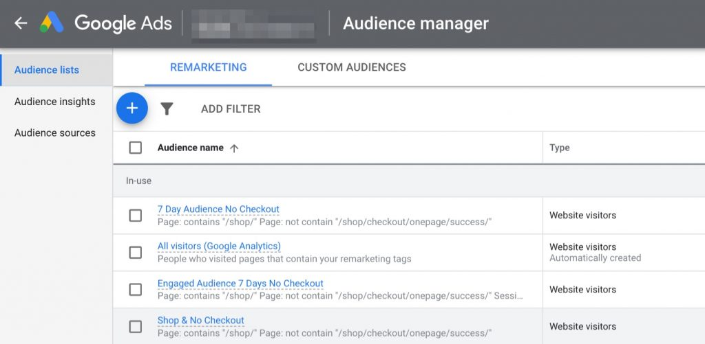 Screenshot of where to create audience lists in Google Ads