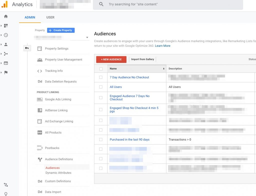 Screenshot of where to create audience lists in Google Analytics