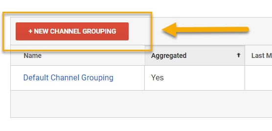 Screenshot showing the new channel grouping button in Google Analytics